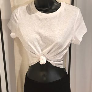 Forever 21 white sexy cap cropped tie tee top S